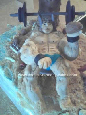Homemade Muscle Man Birthday Cake Design