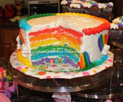 Homemade My Little Pony Rainbow Cake