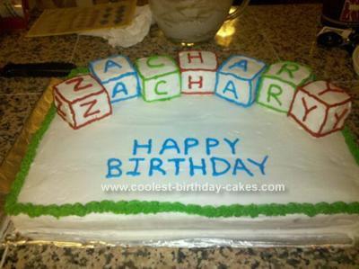 Homemade Name Alphabet Block Cake