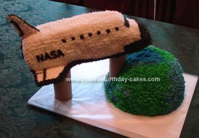 Homemade NASA Shuttle Orbiting Earth Cake