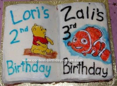 Homemade Nemo and Pooh Book Cake