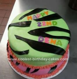 Homemade Neon Colored Zebra Print Cake