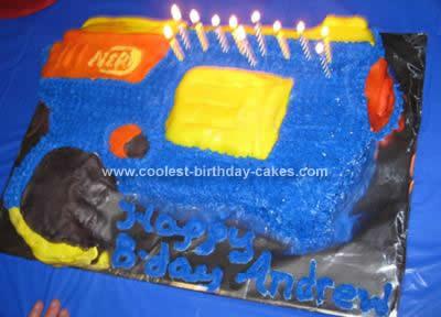Homemade Nerf Gun Birthday Cake