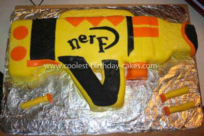 Awe Inspiring Cool Homemade Nerf Gun Cake Personalised Birthday Cards Veneteletsinfo