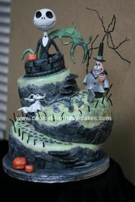 Homemade Nightmare Before Christmas Topsy Turvy Birthday Cake