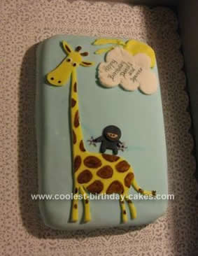Homemade Ninja Riding a Giraffe Cake
