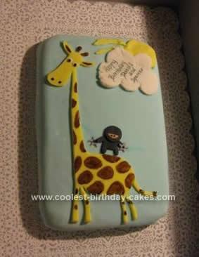 Homemade Ninja Riding a Giraffe Cake