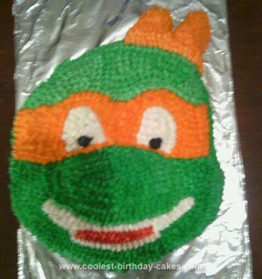 Homemade Ninja Turtle Michelangelo Cake