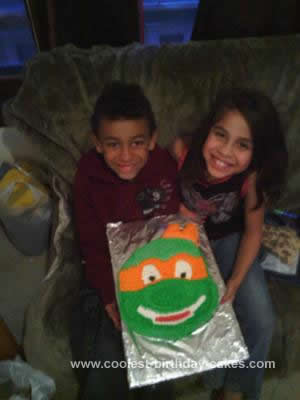 Homemade Ninja Turtle Michelangelo Cake