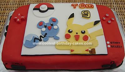 Homemade Nintendo DS Pokemon Cake