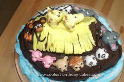 Homemade Noah's Ark Birthday Cake