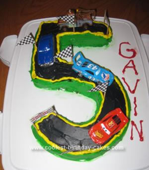 Cool Coolest Number 5 Race Track Cake Personalised Birthday Cards Akebfashionlily Jamesorg