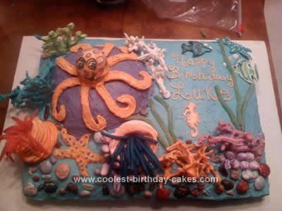 Homemade Ocean Birthday Cake Design
