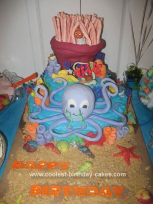 Homemade Ocean Scene Birthday Cake