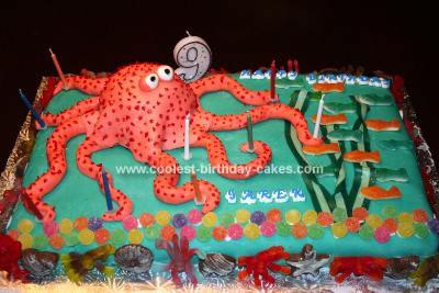 Groovy Coolest Octopus Cake Funny Birthday Cards Online Inifodamsfinfo