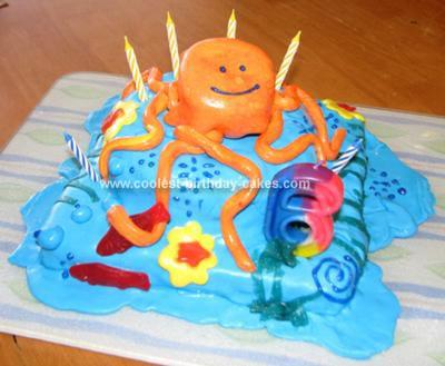 Homemade Octopus Garden Birthday Cake
