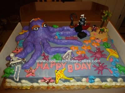 Homemade Octopus Pirate Island Cake