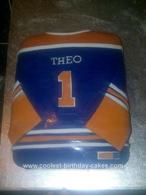 Homemade  Oilers Hockey Cake