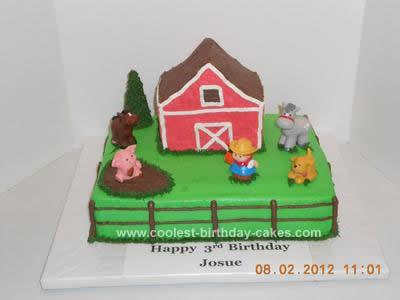 Homemade  Old McDonald Farm Birthday Cake