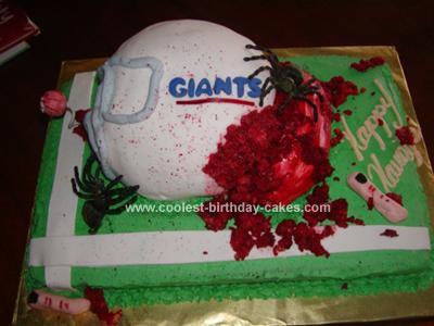 Halloween Busted Helmet Cake