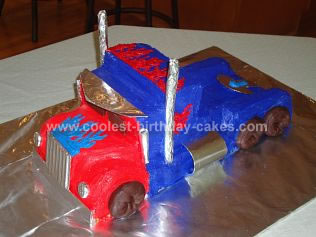 Homemade Optimus Prime Birthday Cake