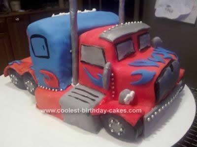 Homemade Optimus Prime Birthday Cake Design