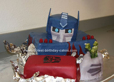 Peachy Coolest Optimus Prime Transformer Cake Personalised Birthday Cards Paralily Jamesorg