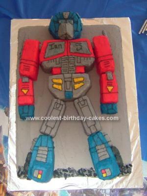 Homemade Optimus Prime Transformer Cake