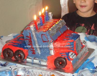 Homemade Optimus Prime Truck Birthday Cake