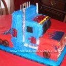 Homemade Optimus Prime Truck Cake