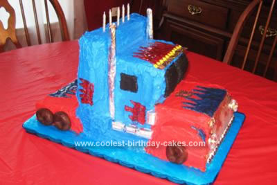 Homemade Optimus Prime Truck Cake