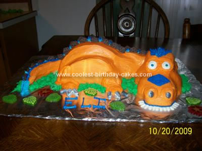 Outstanding Coolest Orange T Rex Dinosaur Cake Personalised Birthday Cards Paralily Jamesorg