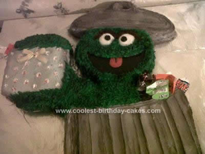 Homemade Oscar the Grouch Birthday Cake