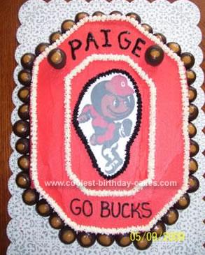 Homemade OSU Buckeye Block O Birthday Cake
