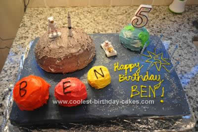 Homemade Outer Space Moon Landing Cake