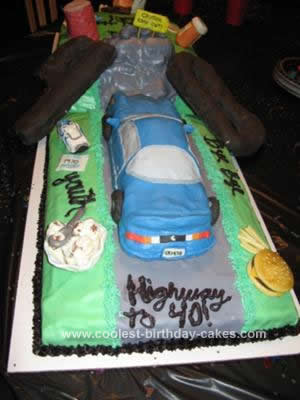 Homemade Over the Hill 40th Birthday Cake
