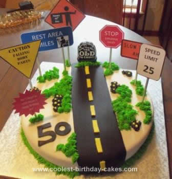 Homemade Over the Hill Birthday Cake