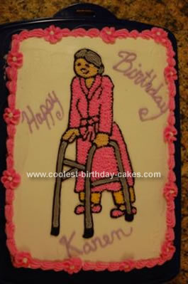 Homemade Old Lady With Walker Cake