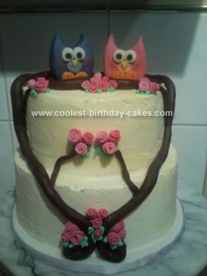 Homemade Owl Couple Cake