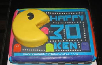 Magnificent Cool Homemade Pac Man Birthday Cake Birthday Cards Printable Riciscafe Filternl
