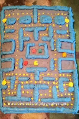 Homemade Pacman Game Cake