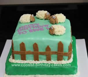 Homemade Pasture of Sheep Cake