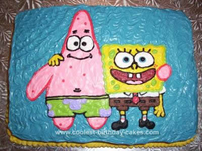 Homemade Patick and Spongebob Cake