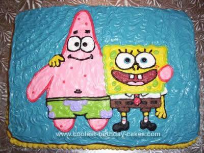 Homemade Patick and Spongebob Cake