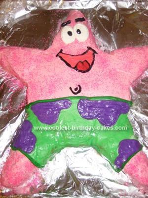 Superb Coolest Patrick Starfish Birthday Cake Personalised Birthday Cards Akebfashionlily Jamesorg