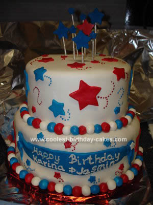 Homemade Patriotic Birthday Cake