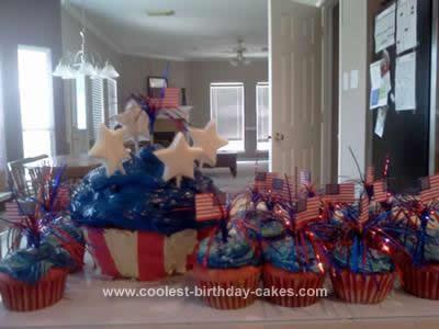 Homemade Patriotic Cupcake Cake
