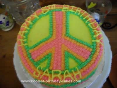 Homemade Peace Sign Birthday Cake