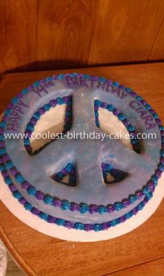 Homemade Peace Sign Cake