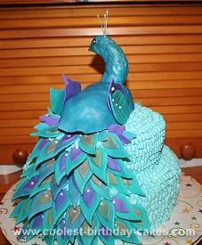 Excellent Coolest Peacock Birthday Cake Personalised Birthday Cards Veneteletsinfo